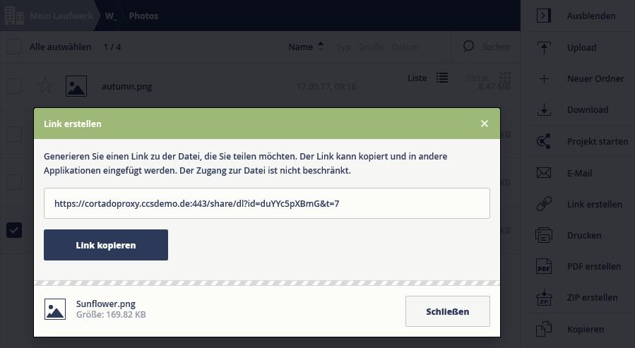Link zu einer Datei erstellen (Web-App)