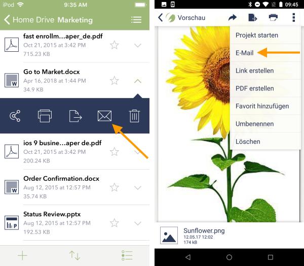 Datei via E-Mail versenden iOS (links) und Android (rechts)
