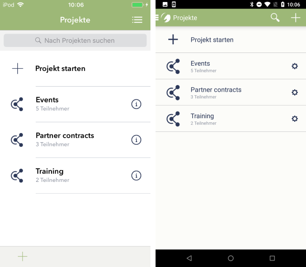 Projekte erstellen, um Dateien zu teilen iOS (links) und Android (rechts)