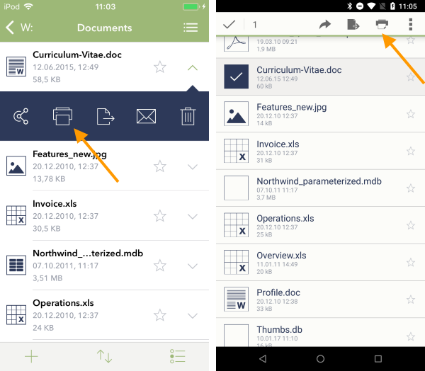 Datei drucken (links iOS, rechts Android)