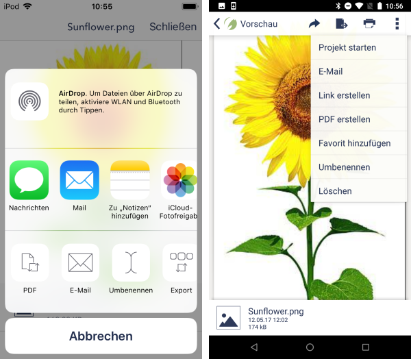 verschiedene Datei-Optionen (iOS links, Android rechts)