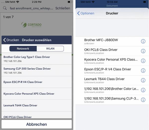 Cortado-App (links), Word-App (rechts): verfügbare Netzwerkdrucker