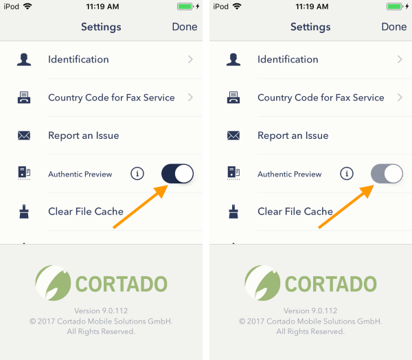 in the console Force Authentic Preview checkbox disabled (left) and enabled (right) (iOS)