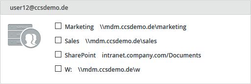 Netzlaufwerke eines Nutzers (Beispiel)