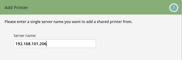 Enter the server name of the print server
