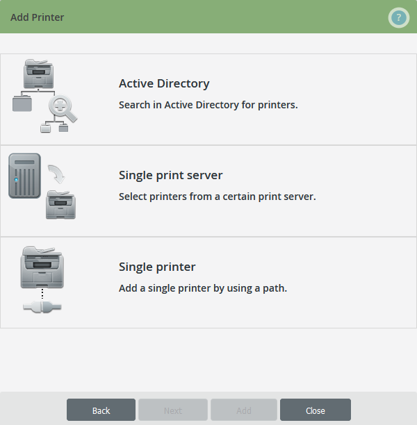 Select printers by share type