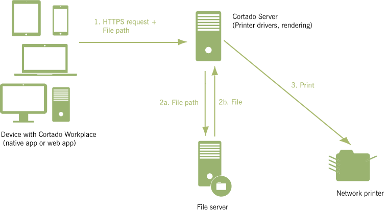 Server-attached printer: Printing with printers created on Cortado server, directly to the printer