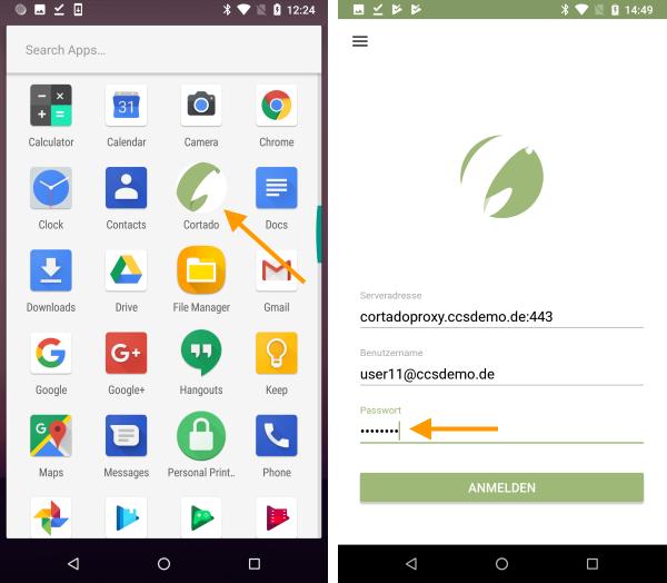 App-Icon und Startseite der Cortado-App (Beispiel für Android)