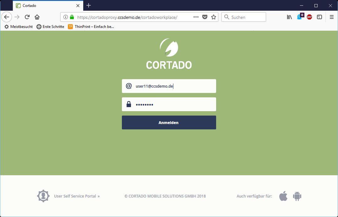 An der Web-App anmelden (über einen Browser auf dem PC)