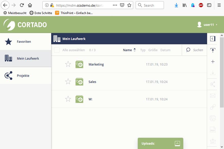 Startseite der Web-App im Browser auf dem PC