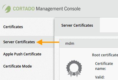 Server Certificates unter Control Panel→ Certificates auswählen