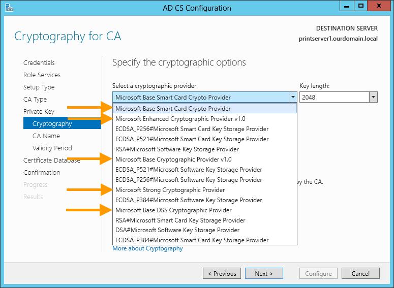 unterstützte Kryptografiediensteanbieter