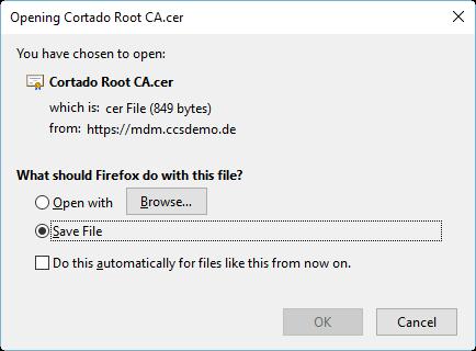 Root-Zertifikat ohne privaten Schlüssel speichern