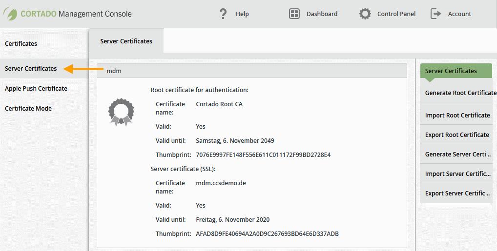 Managementkonsole; rechts oben: Root-Zertifikat generieren, importieren oder exportieren, rechts Mitte: Server-Zertifikat generieren, importieren oder exportieren