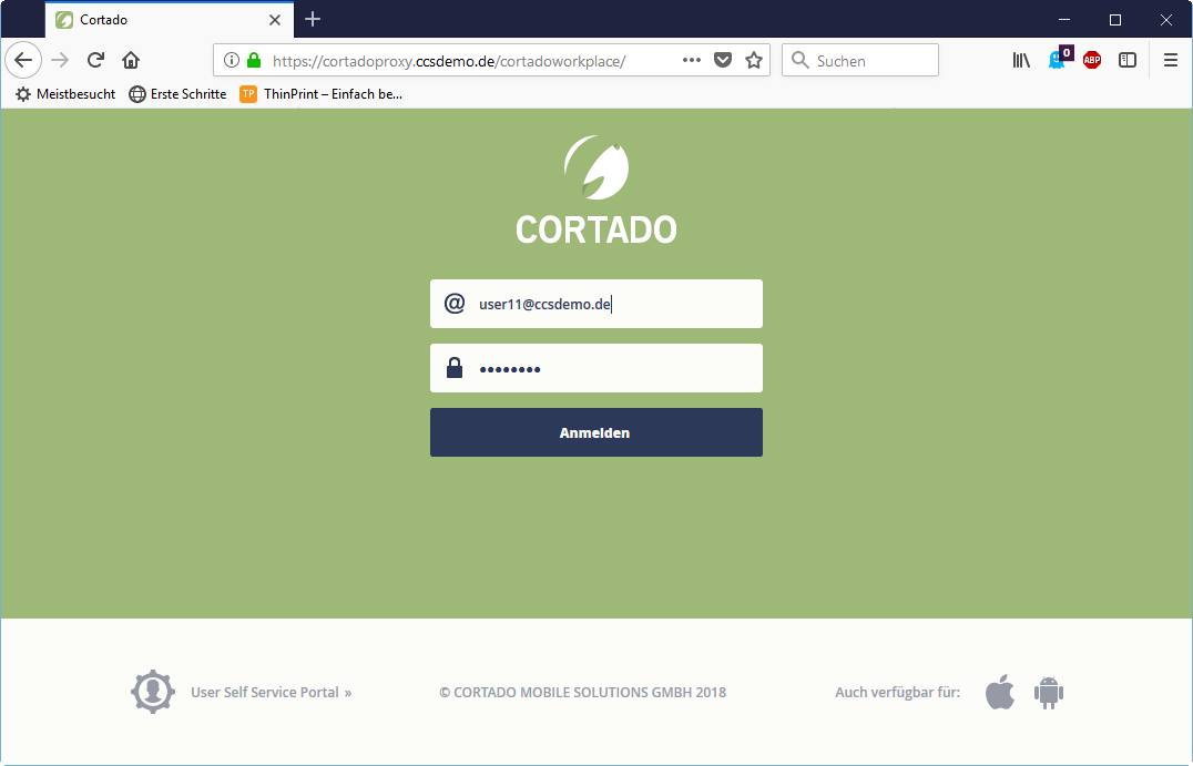 Login to the Cortado web app (via PC browser)