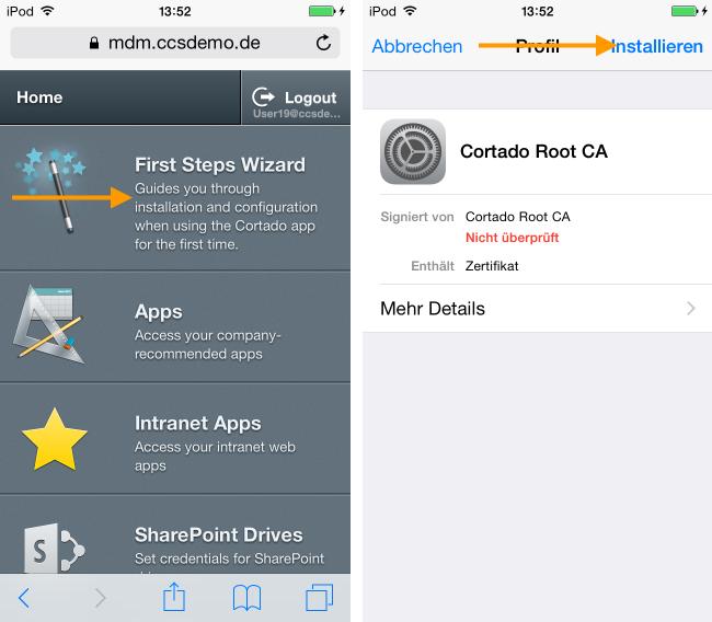 User Self Service Portal: Root-Zertifikat im First Steps Wizard herunterladen (Beispiel für iPhone)