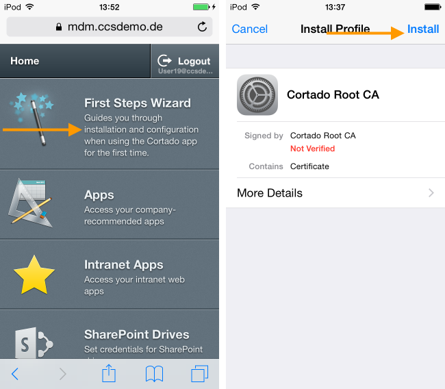 User Self Service Portal: Downloading the root certificate in the First Steps Wizard (example for Apple iOS)
