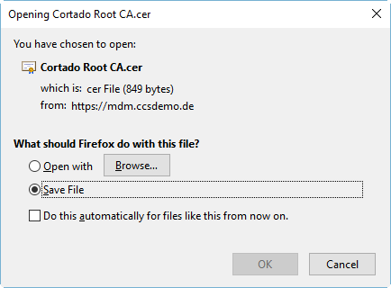 save root certificate without private key