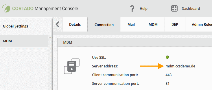 Connection settings in the Cortado Management Console