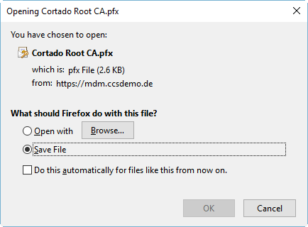 save root certificate with private key