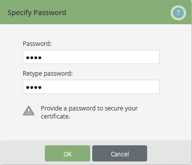 provide a password for the server certificate