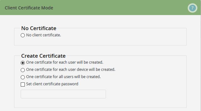 Create Certificate: Zertifikat-Modus 1 wählen (Beispiel)