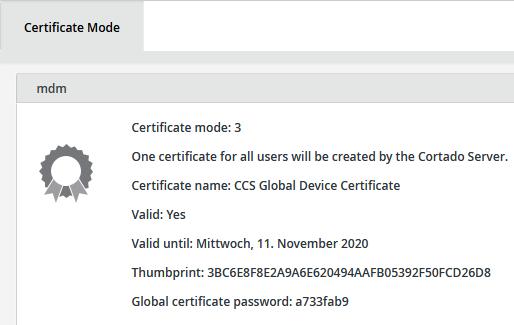 Anzeige des Zertifikat-Modus (Beispiel)