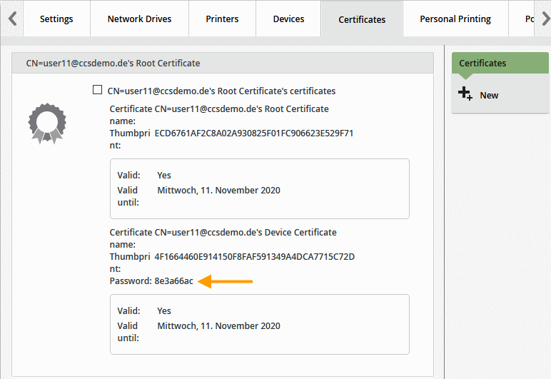 Zertifikat-Passwort eines Gerätes ablesen unter Control Panel→ Users→ Certificates