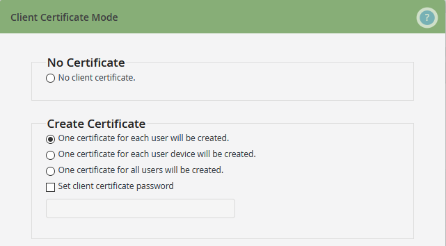 select certificate mode 1 (example)