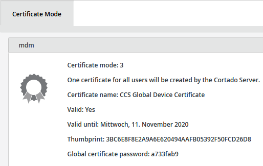 Display of the certificate mode (example)