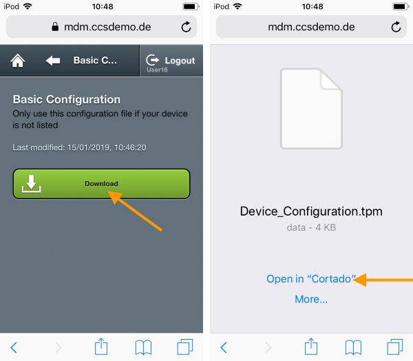 Basic Configuration unter Setup→ Devices→ Basic Configuration herunterladen und in Cortado öffnen