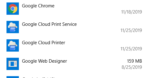 Google Cloud Printer & Google Cloud Print Service in the list of programs