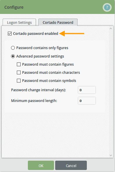 Cortado-Passwort aktivieren und Passwortstärke festlegen
