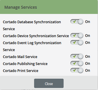 Global Settings: Diagnostics→ Manage Services