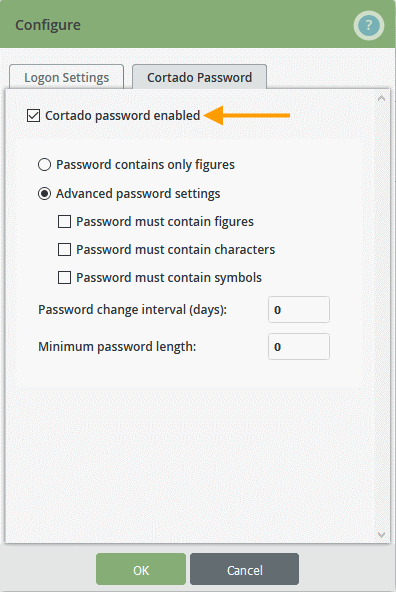 Enable Cortado password and set password strength