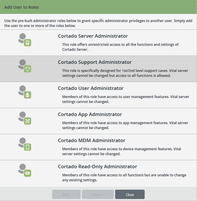 Global Settings: selecting an Admin role