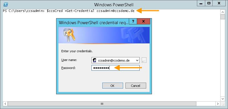 Passwort eingeben, um sich via PowerShell am Cortado-Server anzumelden