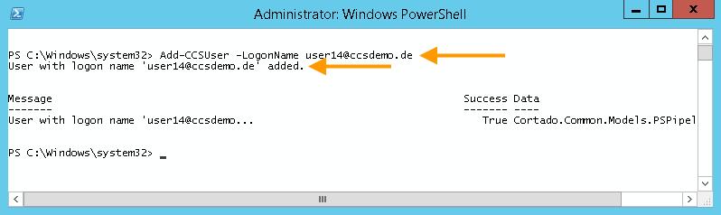 Nutzerimport eines einzelnen Nutzers (Beispiel für den Import von user14 mit LogonName)