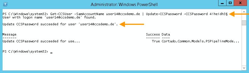 Allocating a new Cortado password (example: 4!heidh3§)