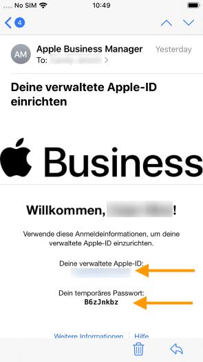 E-Mail mit Apple-ID und Passwort