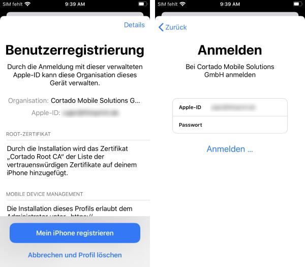 Benutzerregistrierung starten und Apple-ID eintragen