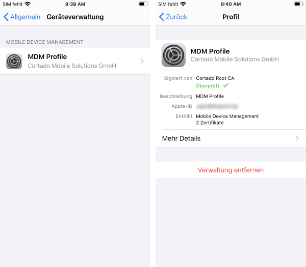 installiertes MDM-Profil