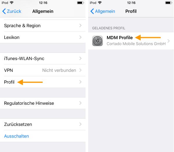 geladenes MDM-Profil auswählen