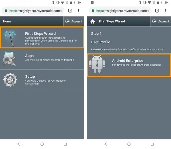 First Steps Wizard öffnen und Android Enterprise auswählen