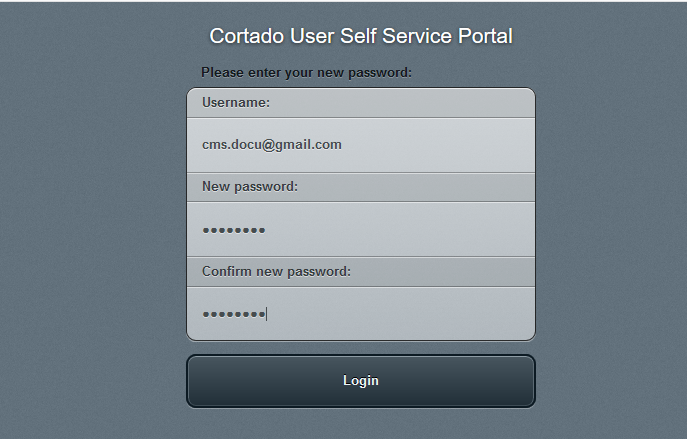 register in the User Self Service Portal