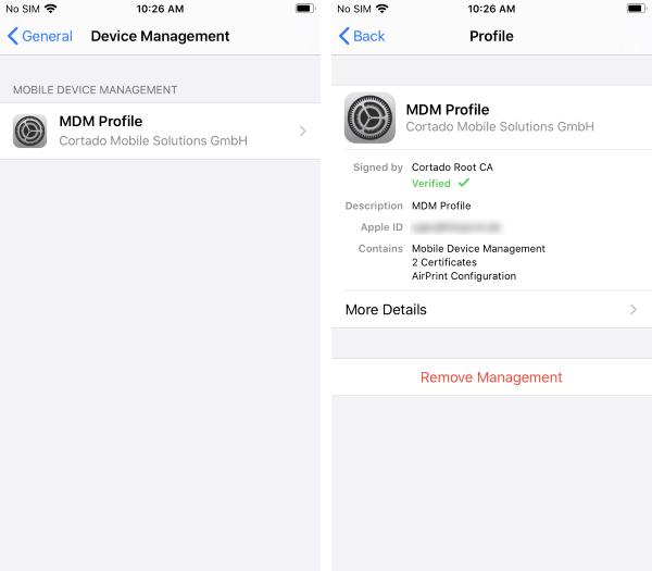 installed MDM profile