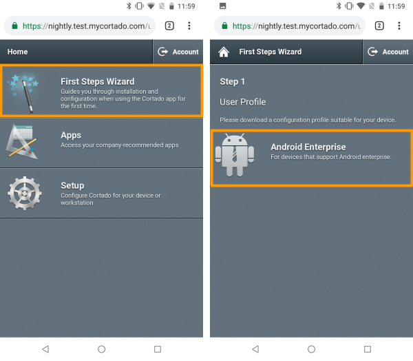 open First Steps Wizard and select Android Enterprise