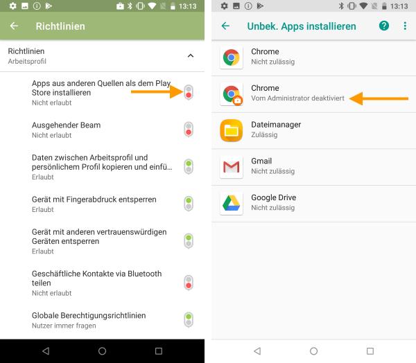 Installation von unbekannten Apps via Richtlinie nicht erlaubt
