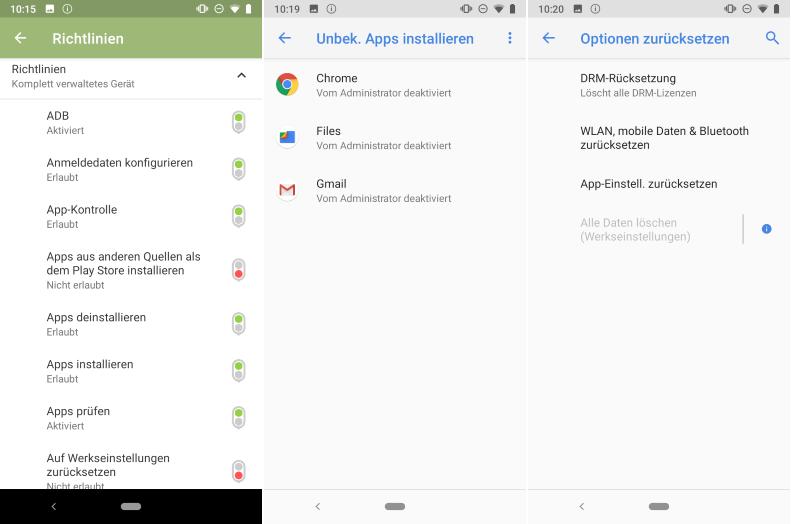Richtlinien in der Cortado-App (links), in den Einstellungen (mitte und rechts)