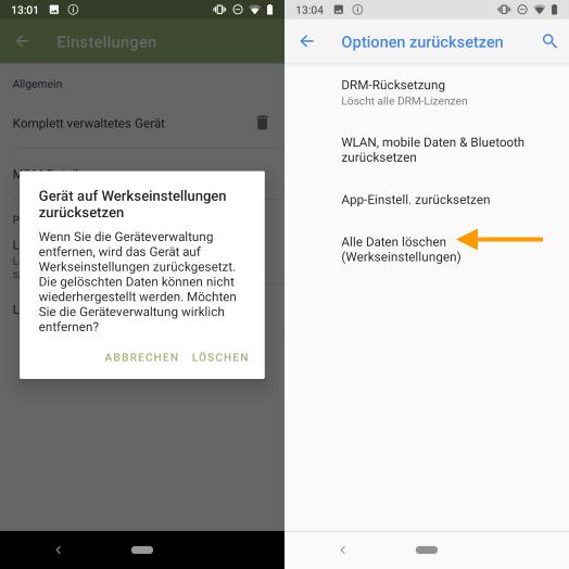 Gerät mittels Cortado-App zurücksetzen (links), Gerät über die Einstellungen zurücksetzen (rechts)